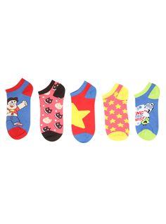 Steven Universe No-Show Socks 5 Pair | Hot Topic  THEY'RE AT HOT TOPIC? I NEED