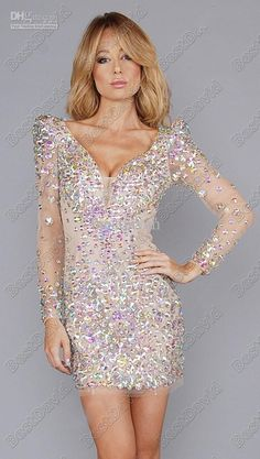 Wholesale Cocktail Dresses - Buy New Long Sleeve Deep V Crystal Cocktail Dress Nude Beads Tulle Sheath Prom Dress Custom Made, $189.0 | DHgate