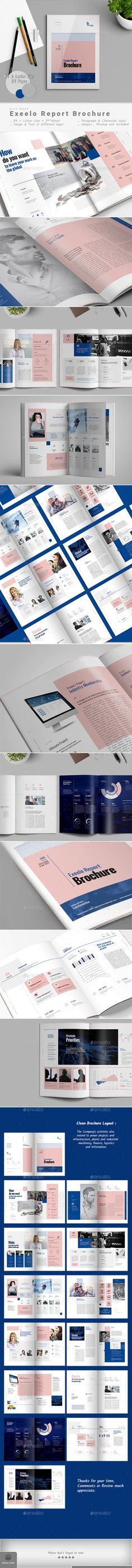 Annual Report Exeelo – Report Brochure are 28 Pages,both of A4 and Letter size. Visible Bold shapes, and cropped placeholder for photos.It has all the features you'd expect in a professional brochure template, from placeholders, to text styles, customizable infographics, and easy to edit master pages. Available in two different sizes A4 and US Letter.