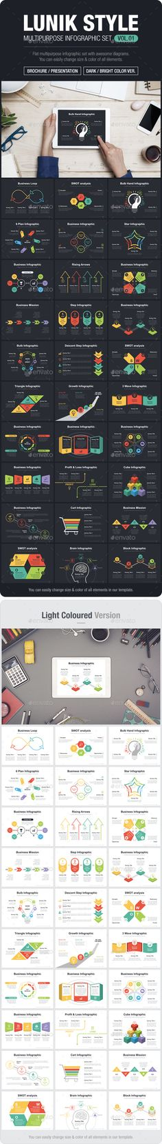 Flat Multipurpose Infographic Set With Diagrams — Vector EPS #step #swot • Available here → https://graphicriver.net/item/flat-multipurpose-infographic-set-with-diagrams/17053498?ref=pxcr