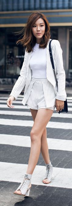 Pinstriped Set Chic Style by Tsangtastic