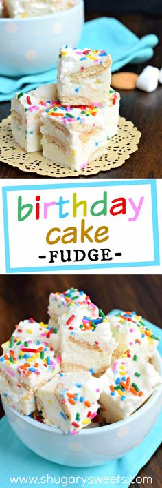 Birthday Cake Fudge is a fun festive Disney inspired treat. Packed with cookies and marshmallow this is one dessert you can't resist! Fudge Recipes, Sweets Recipes, Candy Recipes, Easy Desserts, Delicious Desserts, Yummy Food, Lemon Desserts, Top Recipes, Frozen Desserts