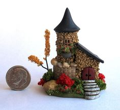Handmade Miniature CHARMING STONE FAIRY COTTAGE HOUSE - by C. Rohal #CRohal