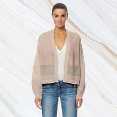 The 'Tulsa' Open Front Cardigan by 360 Cashmere is the essential piece your closet needs. Features an easy open-front silhouette. Detailed with mesh knit panels on the front and sleeves for a textured effect. Complete with dropped shoulders. Cardigans, Sweaters, Open Front Cardigan, Shop Now, Cashmere, Mesh, Silhouette, Pullover, Knitting