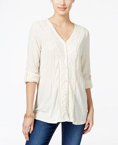 Style & Co. Lace-Trim Textured Blouse, Only at Macy's