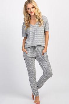 dbbb7e8a0dcab Heather Grey Striped Pocket Front Pajama Set Maternity Pajama Set, Grey  Stripes, Heather Grey