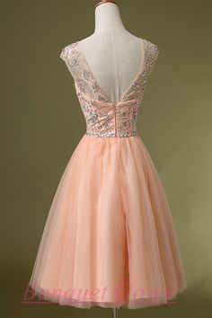 Short Blush Pink Backless Beaded Bodice Cap Sleeves Lace Homecoming Prom Gown Cocktail Dress For Teens