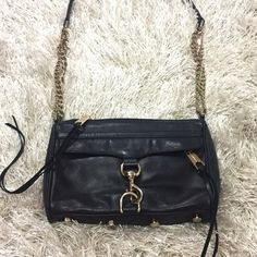 Rebecca Minkoff Mini M.A.C. Crossbody Black Rebecca Minkoff M.A.C. Crossbody. Genuine leather. Light gold hardware. Blue lining with black polka dots. As you can see in the last photo the straps can be adjusted to different lengths. Or you can just carry as a clutch! Feel free to ask questions!  Rebecca Minkoff Bags