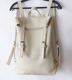 Awesome White Leather Backpack