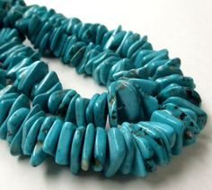 Turquoise Magnesite Beads Blue Slice Irregular Chip by BijiBijoux