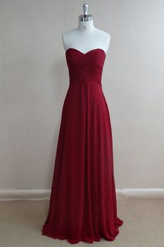 Simple Sweetheart Ruched Chiffon Burgundy Long Bridesmaid/Prom Dress
