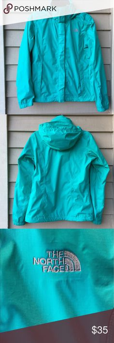 North Face Venture Hooded Rain Coat Gorgeous  North Face Rain Jacket.  Very good lightly worn condition.  Has light dots of mud on the underside of sleeves and a light stain on the lower front.  I treated the spots they lighten but didn't come out all the way.  The spots aren't noticeable.  Ask for measurements.  The color is a blue green with gray logo and Teal lining. North Face Jackets & Coats