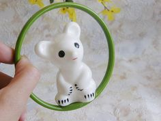 Soviet polar bear baby rattle. Vintage new old stock celluloid babies toy by SovietDreams, $30.00