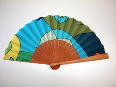 Handpainted Silk hand fan-Wedding hand fan-Giveaways-Bridesmaids-Spanish hand fan 14 x inches cm x 19 cm) by gilbea on Etsy