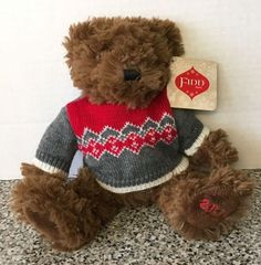 "Sears 2014 Finn Teddy Bear Brown Plush Stuffed Animal Winter Sweater 9"" NEW NWT #SEARS"