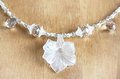 Modern Bridal Necklace Large Flower Clear Swarovski by KapKaDesign,