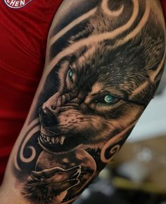 No photo description available. Wolf Tattoos, Native Tattoos, Girl Arm Tattoos, Life Tattoos, G Tattoo, Mark Tattoo, Animal Sleeve Tattoo, Sleeve Tattoos, Wicked Tattoos