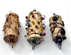 Bead & Wire Wrapped Wine Cork Ornaments