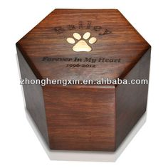 Memorial Gallery Pets Paw Print Hexagon Pet Cremation Wood Urns ** See this great product. (This is an affiliate link and I receive a commission for the sales) Memorial Urns, Cat Memorial, Memorial Ideas, Pet Caskets, Dog Cremation, Pet Grave Markers, Dog Urns, Wood Dog, Dog Items