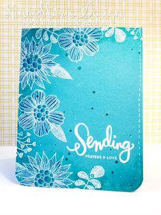 Summer Garden: SSS, white embossed,shaded with pencils, sponged peacock around edges, painted color shine over ink, flicked on droplet of shine also, white accents with gel pen | Nina-Marie Design