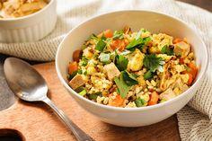Bulgur s pečenou zeleninou a tofu Tofu, Love Food, Food And Drink, Healthy Recipes, Meals, Vegan, Fitness, Bulgur, Meal