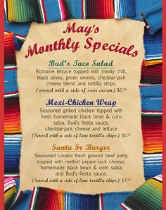 May 2011 monthly specials