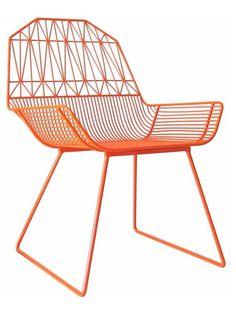 orange steel dining chair