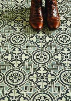 The Salisbury pattern tile in a new monochrome colourway via Original Style Tiles
