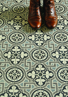 The Salisbury pattern tile in a new monochrome colourway via Original Style Tiles