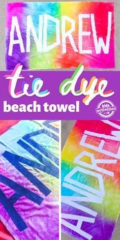Kids Tie Dye, How To Tie Dye, Kids Ties, Summer Fun For Kids, Diy For Kids, Diy Tie Dye Towels, Homemade Tie Dye, Diy Tie Dye Designs, Tie Dye Party