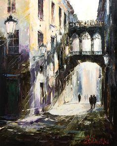 Gothic Quarter - Barcelona, by Gleb Goloubetski, Oil on Canvas, 100cmx80cm THIS PAINTING IS SOLD