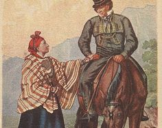 Old Norway Bay - Vintage 1920s Artist-attributed Setesdal Couple and Horse Postcard