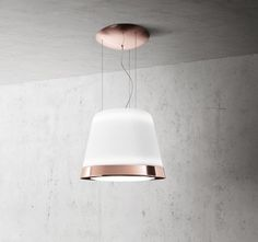 Summilux is the new Elica chandelier hood in white glass, with a frosted glass finish