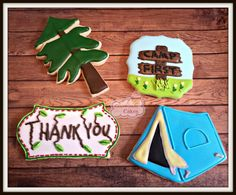 Perfect for a boys birthday party or even to take camping with you.  This listing is for a set of camping themed cookies. Included in this