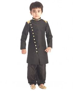 Black buttoned sherwani for kids Sherwani For Boys, Mens Sherwani, Baby Boy Fashion, Kids Fashion, Men's Fashion, Kids Wear Boys, Kids Dress For Boys, Kids Kurta, Kurta Men
