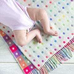 Lambswool Spot Check Multi Baby Blanket - soft furnishings & accessories