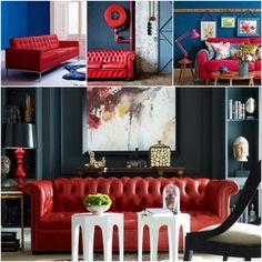 salon canapé rouge mur bleu petrole