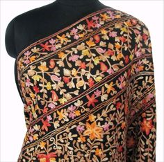 Black Wool Shawl Heavy Crewel Embroidery India.