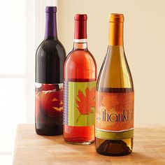 For a simple fall gift, buy a favorite bottle of wine and dress it up with one of our fabulous free labels featuring autumn leaves, pumpkins and more.  All you have to do is download, print, cut and wrap!