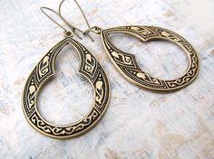 Moroccan earrings brass hoop earrings keyhole dangle earrings bohemian jewelry
