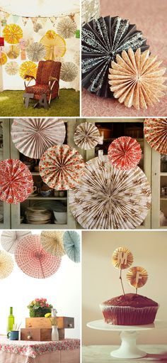 These pinwheels are all to die for! But I am also loving the table arrangement on the bottom left with the drawers as centerpieces!