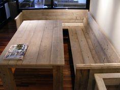Bank met zij en rugleuning gemaakt van gebruikt steigerhout (22121515) | BANKJES STOELEN | JORG`S Houten Meubelen