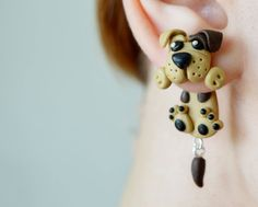 Dog earringspet stud post earringsanimal ear by JEWELRYandPLEASURE