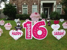 Sweet 16 with cupcakes & hearts! Happy Birthday Signs, Girl Birthday, Outdoor Birthday Decorations, Sweet 16, Flamingo, Hearts, Cupcakes, Silhouette, Christmas Ornaments