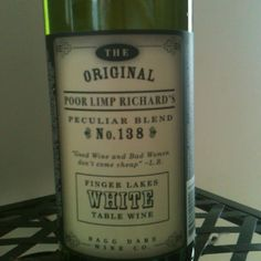 Bagg Dare Wine Co. Poor Limp Richard's Peculiar Blend. A white table wine with a fun name.