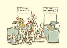 M155 FAMILY CHECKOUT a Two Bad Mice Greeting Card by Anita Jeram