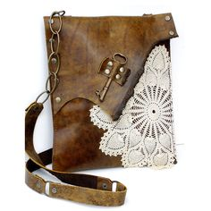 Leather Messenger Bag -- LACE... love that detail!