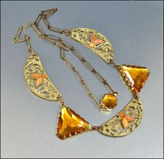Art Deco Necklace Vauxhall Glass Enamel Gold Filigree Vintage Jewelry 1930s Coral Amber. $85.00, via Etsy.