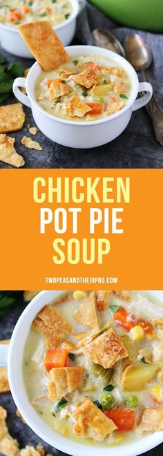 Chicken Pot Pie Soup tastes like chicken pot pie but so much easier to make. You will love this creamy and comforting soup! Use rotisserie chicken or leftover turkey to keep it super easy! #chicken #chickenrecipe #dinner #soup #leftovers