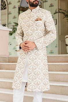 Shop Anita Dongre - Men Hemant Sherwani , Exclusive Indian Designer Latest Collections Available at Aza Fashions Indian Wedding Clothes For Men, Sherwani For Men Wedding, Sherwani Groom, Mens Sherwani, Wedding Dress Men, Indian Wedding Outfits, Wedding Outfits For Men, Engagement Dress For Men, Sikh Wedding